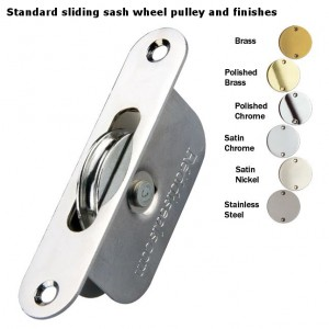Sliding sash wheel pulley