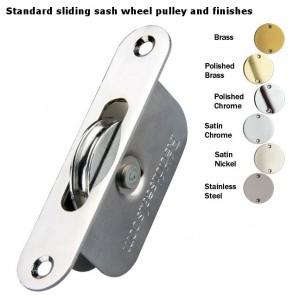 Sliding sash wheel pulley